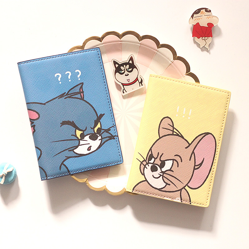 The Cat And The Mouse Travel Passport Holder Cover Wallet Cartoon Leather ID Card Holders Business Credit Card Holder Case Pouch
