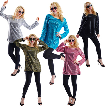 New Arrival Women 60's 70's Disco Dress for Carnival Party Fancy Dress Lady's Sequins Hippie Clothes for Adult Halloween Costume umorden police officer cops costume for adult women men teen girls policeman uniform halloween carnival mardi gras party dress