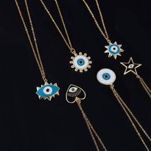 Нержавеющая сталь Турецкий Дурной глаз кулон ожерелье круглый Солнце Сердце Звезда Ожерелье s женские ювелирные изделия acero inoxible joyeria mujer