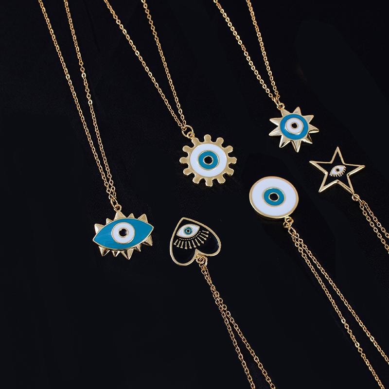 Stainless Steel Turkish Evil Eye Pendant Necklace Round Sun Heart Star Necklaces Women Jewelry acero inoxidable joyeria mujer