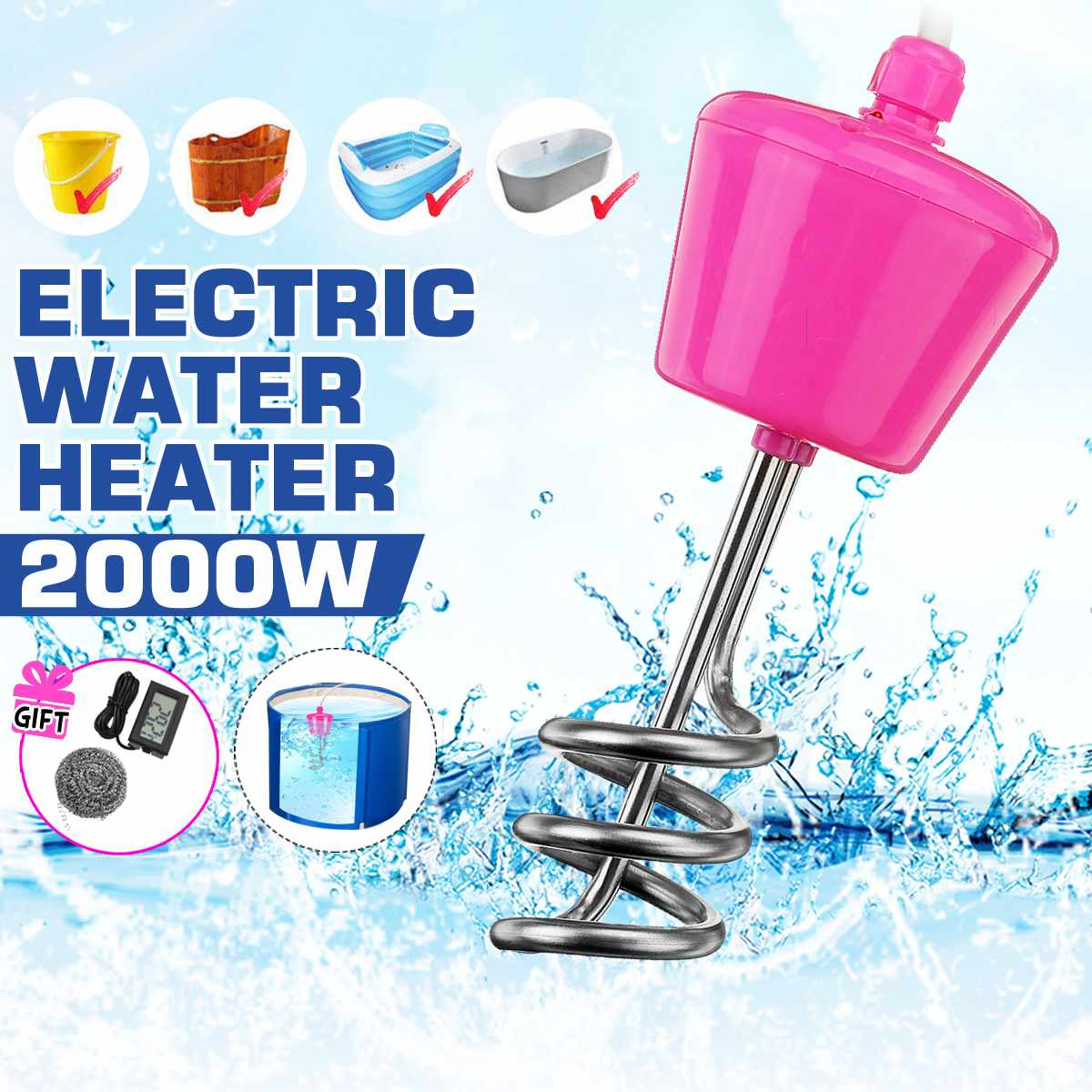 2000W Floating Electric Heater Boiler Water Heating Portable Immersion Suspension Bathroom Swimming Pool Heater EU 3 Meter Cable