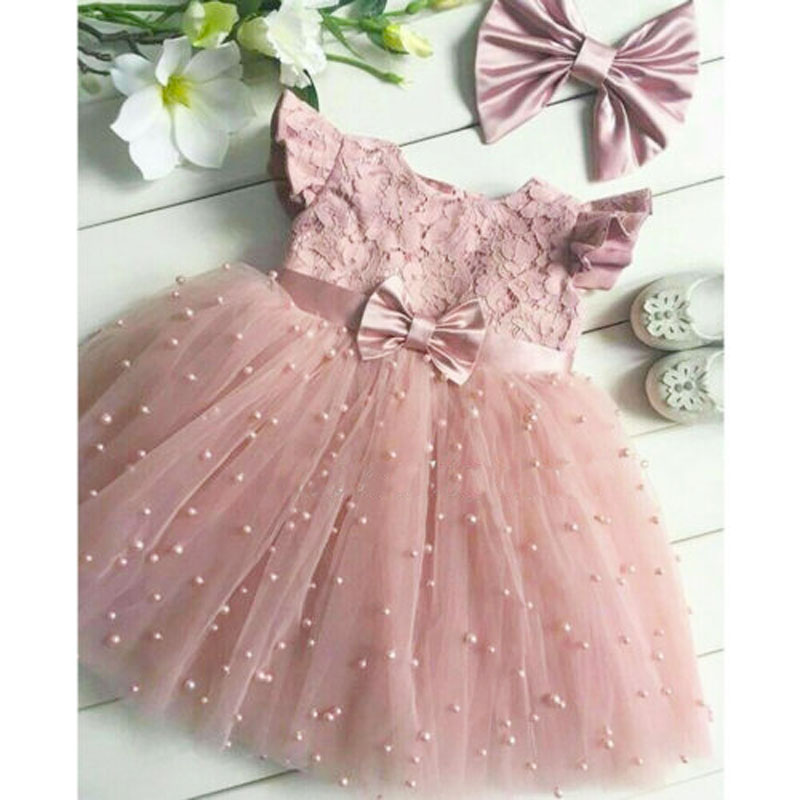 2-7Years Toddler Kid Girl Princess Dress Lace Tulle Wedding Birthday Party Tutu Pageant Children Clothing Costumes