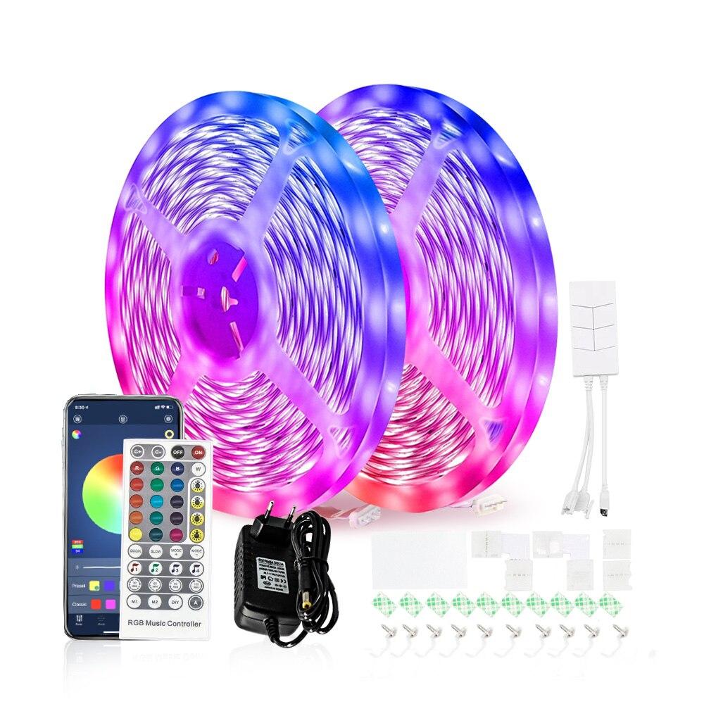 65.6ft 20m led luz de tira bluetooth rgb 5050 brilho flexível lâmpada música sincronização dc 24v led app + ir controle remoto