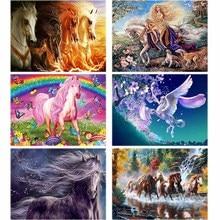 Cartoon Diamond Embroidery Horse 5d Diy Painting Animal Elf Diamant Landscape Cross-stitch Home Decor Gift W55