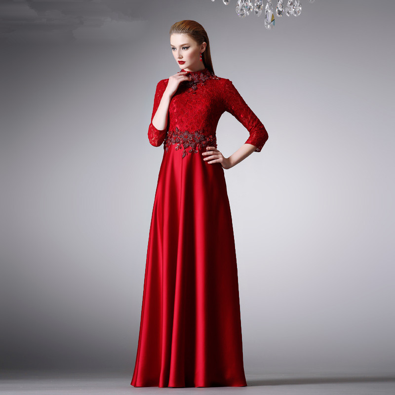 Robe De Soiree Beading High Neck 2018 Fashion Vestido De Festa Evening Elegant Three Quarter Sleeve Mother Of The Bride Dresses