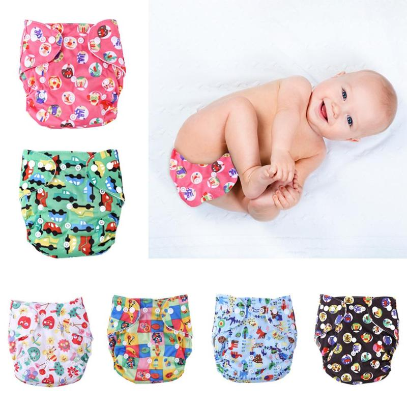1pc Cute Baby Washable Diaper Reusable Cloth Nappies Infants Training Pants Panties Nappy Changing One Size For Baby Care Props