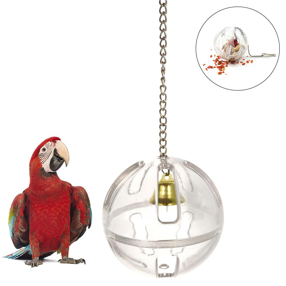 Pets Bird Parrot Food Feeder Foraging Bell Chain Ball Cage Feeding Chew Toy