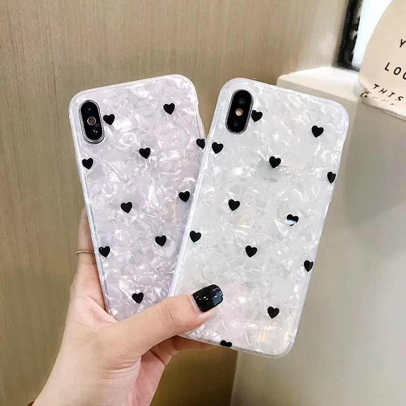 Love Heart Shell Pattern Crystal Clear Soft Silicone TPU Case For Huawei P20 P30 Mate 9 10 20 Nova 3 3i 4 4e 5 5i Pro Cover Capa