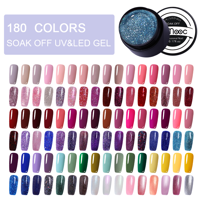 LEMOOC 5ml Color Gel Paint UV Nail Gel Polish Soak Off Nail Art Led Nail Lacquer 180 Colors Glitter Nail Rainbow Painting Gel