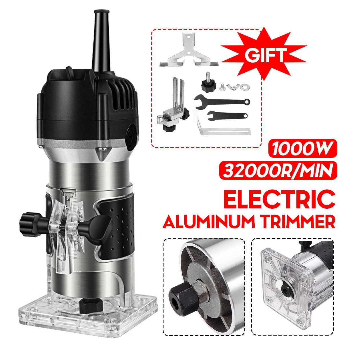 1000W 32000r Wood Router Tool Combo Kit Electric Woodworking Machines Power Carpentry Manual Trimmer Tools With Milling Cutter