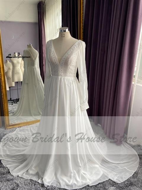 Vestidos Boho Bridal Long Sleeve Wedding Dresses A Line 2021 Robe Longue Simple Beach Chiffon Long Wedding Gowns Deep V-neck 5
