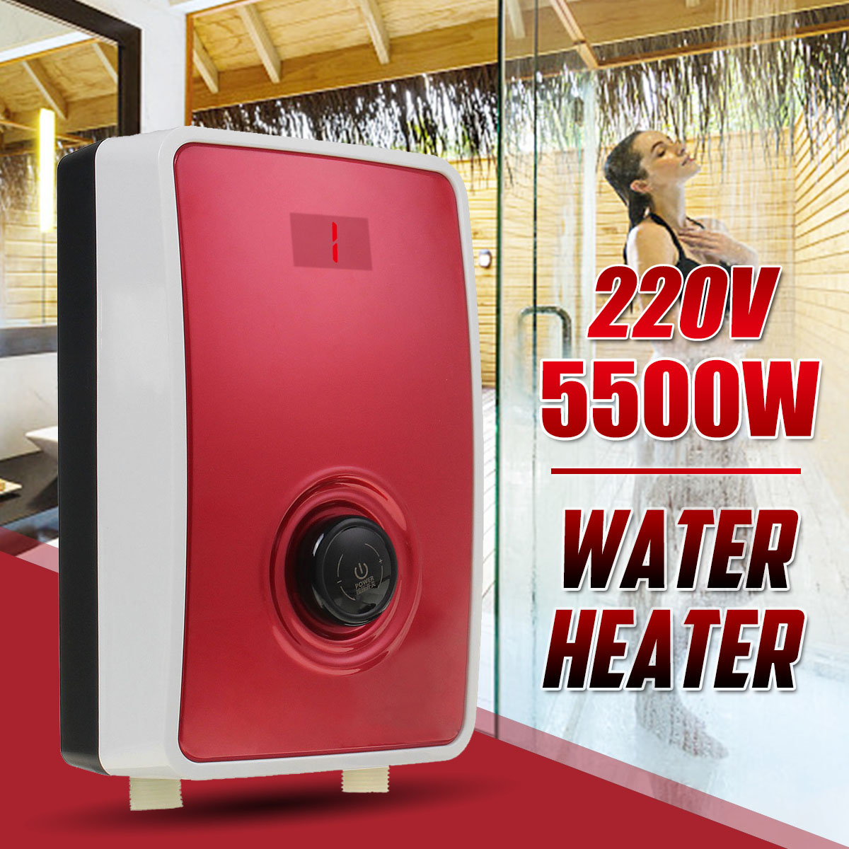 5500W Instant Electric Tankless Water Heater Instantaneous Water Heater LCD Electric Water Heating Fast 1s Hot Shower + Head