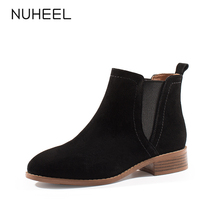 NUHEEL women's shoes new autumn and winter fashion wild casual high-top round head square heel Chelsea boots