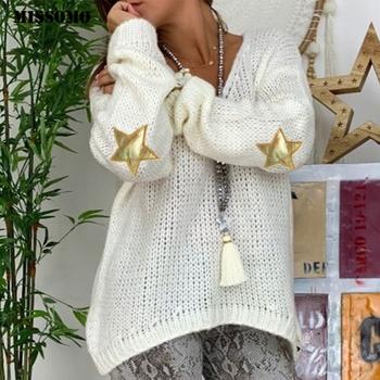 MISSOMO sweter damski dzianinowy top nadruk gwiazdy dekolt w serek długi sweter z rękawem luźny dzianinowy sweter Jumper Ladies Casual jesienne topy Cashmere tanie i dobre opinie Acrylic Poliester STANDARD Komputery dzianiny Pełna Drukuj Brak V-neck Swetry REGULAR Na co dzień NONE knit sweater women