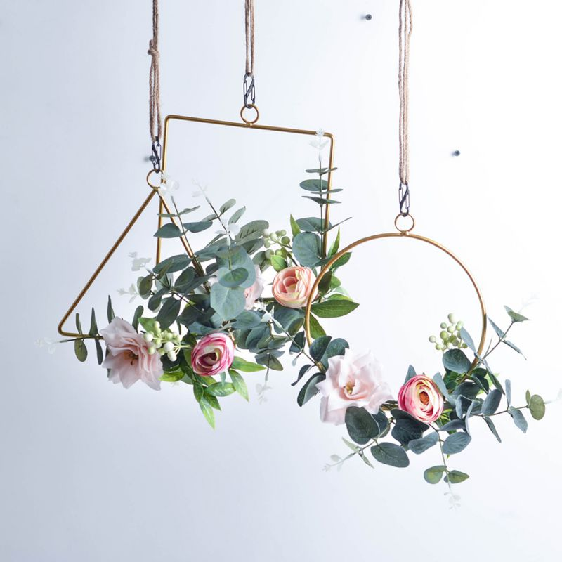 Metal Geometric Garland Home Hanging Wreath Decoration Artificial Rose Flower Ring Holder Wall Hoop Wall Hanging Ornament Wreaths Garlands Aliexpress