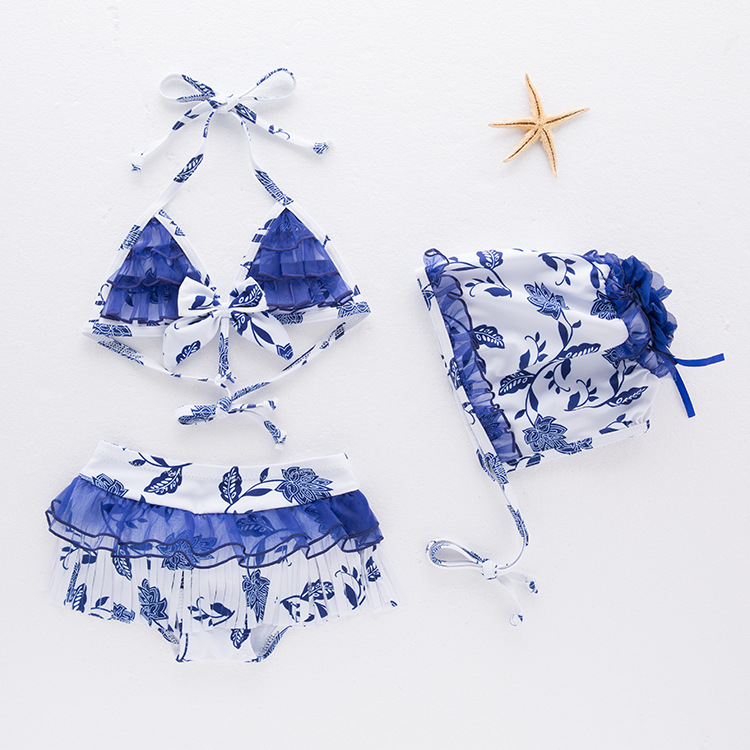 Girls' Two-piece Swimsuit Blue And White Porcelain-Swimwear Children Hot Springs Tour Bathing Suit