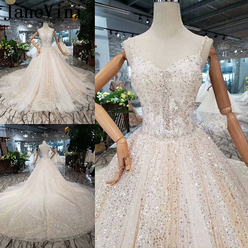 JaneVini Sparkling Sequined Ball Gown Princess Wedding Dresses Appliques Beaded Spaghetti Straps Saudi Arabic Sexy Bridal Gowns