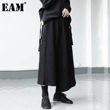 A-Line EAM Spliced Skirt Women Waist Irregular Black Autumn High-Elastic Fashion Tide