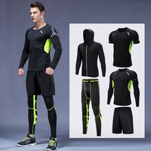 T-Shirt Tracksuit Running-Clothes Men's Joggers Compression-Suit Tights Gym Fitness 5piece