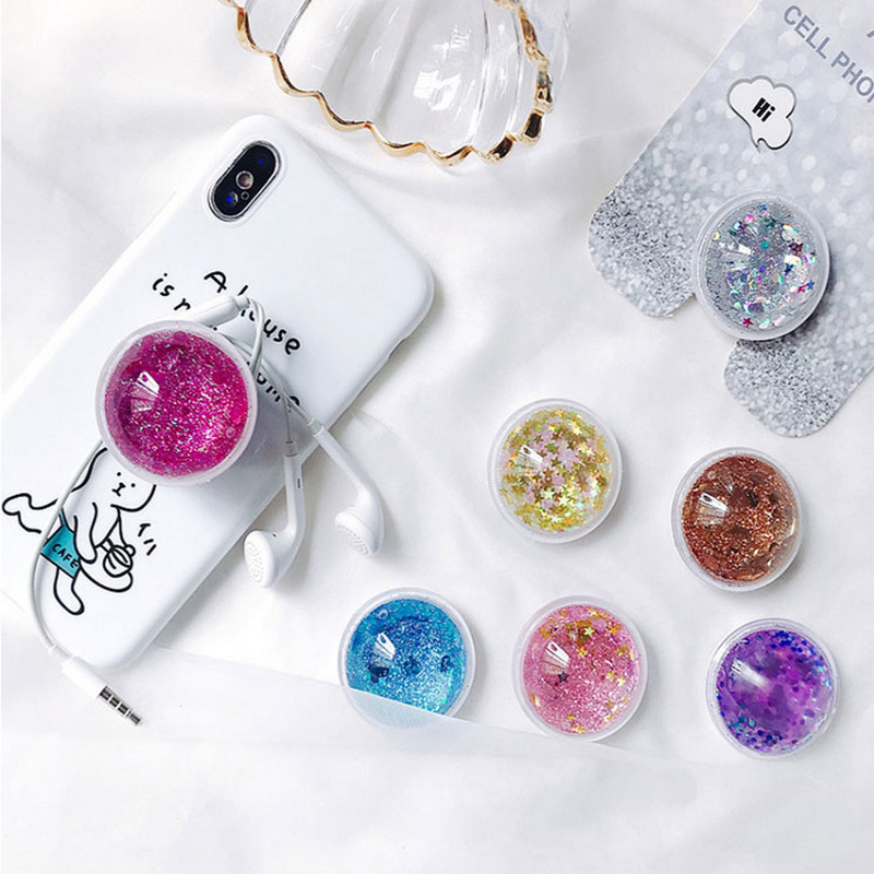 Pipsocket Glitter Quicksand Finger Grip Phone Holder For IPhone 11 Pro Samsung Foldable Pocket Socket Air Bag Cell Bracket Stand