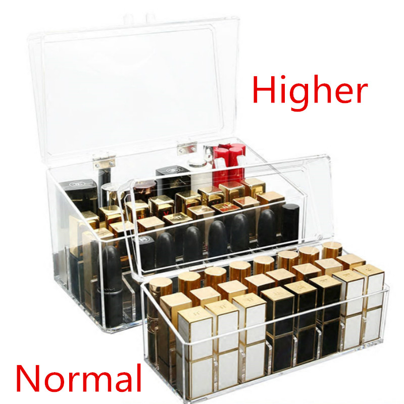 Dustproof Acrylic Lipstick Organizer With Lid Table Cosmetics Organizer Makeup Storage Box Nail Polish Holder For Women/Girls