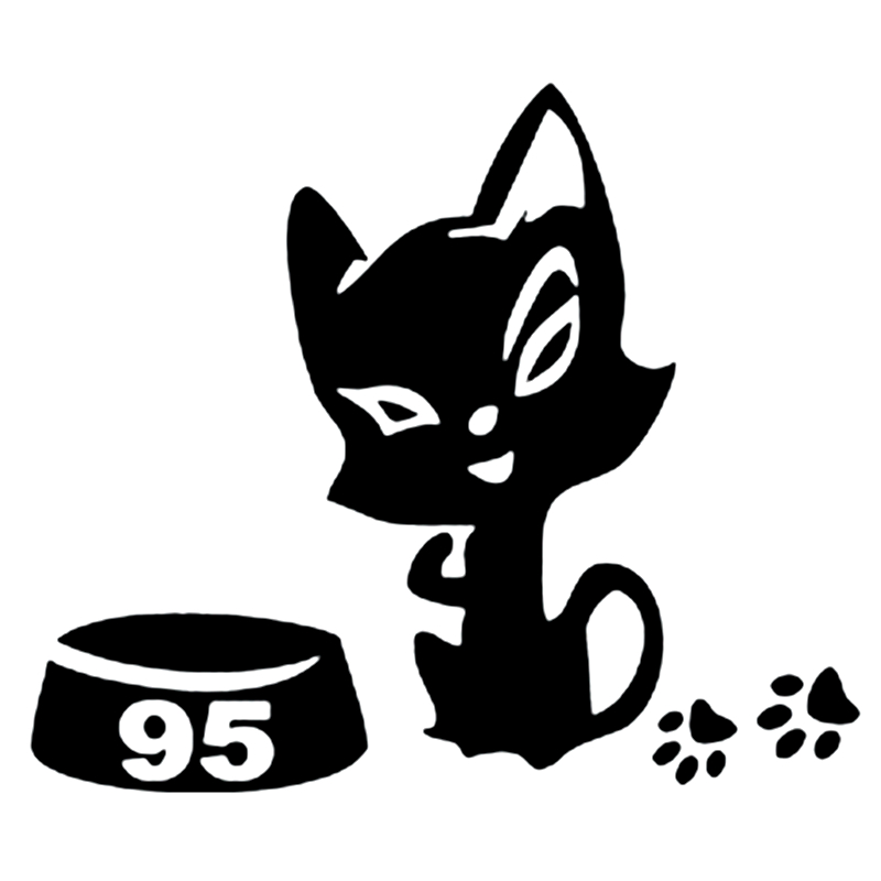 CK3165#12*10cm Cat On A Gas Tank 95 Reflective Funny Car Sticker Vinyl Decal Silver/black  Auto Stickers For Bumper Rear Window