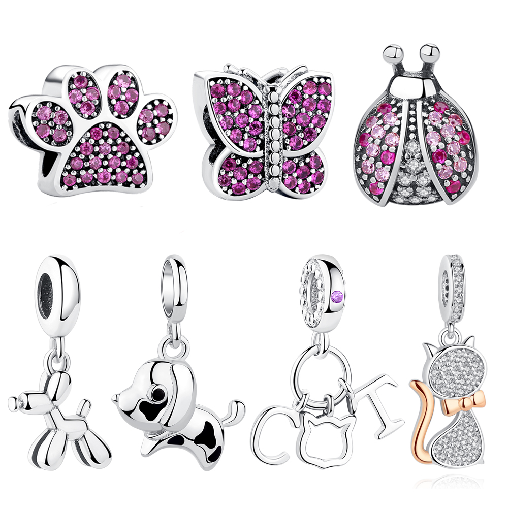 Pure 925 Sterling Silver Lovely Dog Cat Pet Paw Print Charms Fit Pandora Bracelet Necklace Heart Bead Accessories Jewelry Making