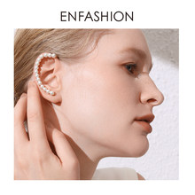 ENFASHION Auricle Pearl Ear Cuff Clip On Earrings For Women Gold Color Statement Earcuff Earings Without Piercing Jewelry E1130(China)