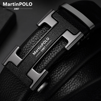 MartinPOLO Men's Belts Luxury Automatic Buckle Genune Leather Strap Black for Mens Belt Designers Brand High Quality MP02801P