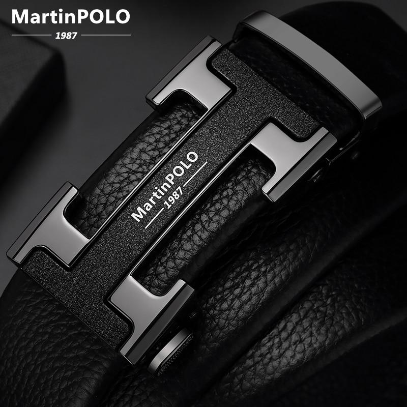 MartinPOLO hommes ceintures de luxe automatique boucle Genune bracelet en cuir noir pour hommes ceinture Designers marque de haute qualité MP02801P