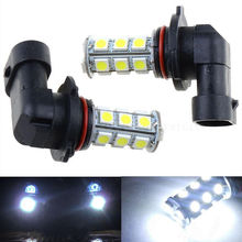 цена на 2Pcs Car Light 12V HB3 9005 18SMD 5050 LED White LED Car DRL Fog Driving HeadLight Bulb Lamp Car Signal Lamp for Car Auto SUV