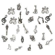 Mezcla de abalorios musicales, 50 unids/lote, colgante de instrumentos de plata Vintage, micrófono de guitarra, violín, bricolaje, fabricación de joyas