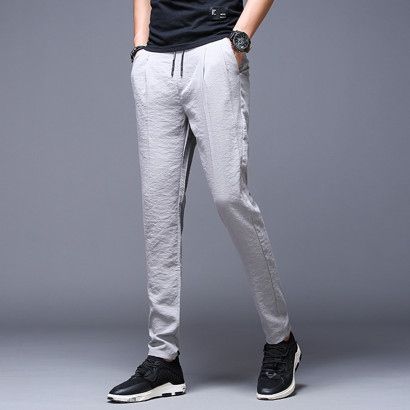 Summer New Style 2019 Men Viscose Wide Elastic Thin Athletic Pants Korean-style Trend Casual Pants MEN'S Trousers