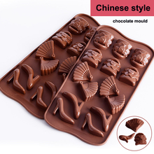Chinese wind fan cake mold shoes bag Moulds fondant molds silicone chocolate fortune cake cake cake mold candy baking cake mold