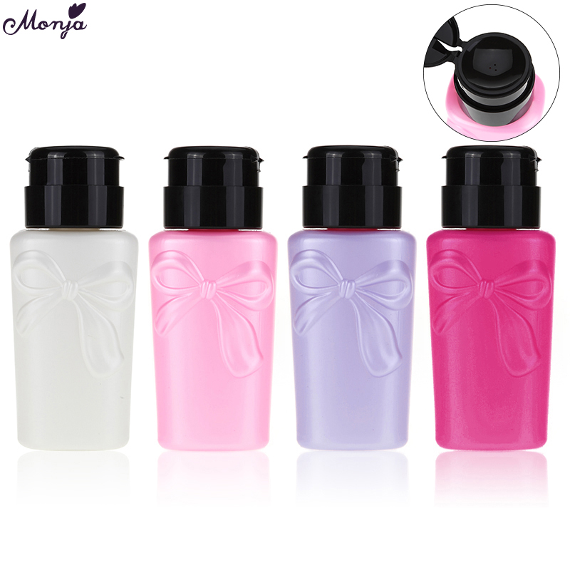 Monja 230ml Nail Art Pressure Bottle UV Gel Polish Remove Liquid Alcohol Storage Press Pump Dispenser Empty Bottle Manicure Tool