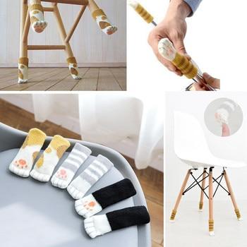 4pcs/lot Anti Slip Mat Bumper Damper Cute Furniture Leg Feet Rug Caps Felt Pads Cat Claw Chair Leg Socks Table Protector