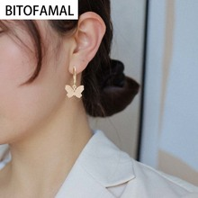 1 Pcs Butterfly Simple Style Earrings Good Gifts for Women Trendy Alloy Jewelry Wholesale  Korean Style Fashion Two Colors