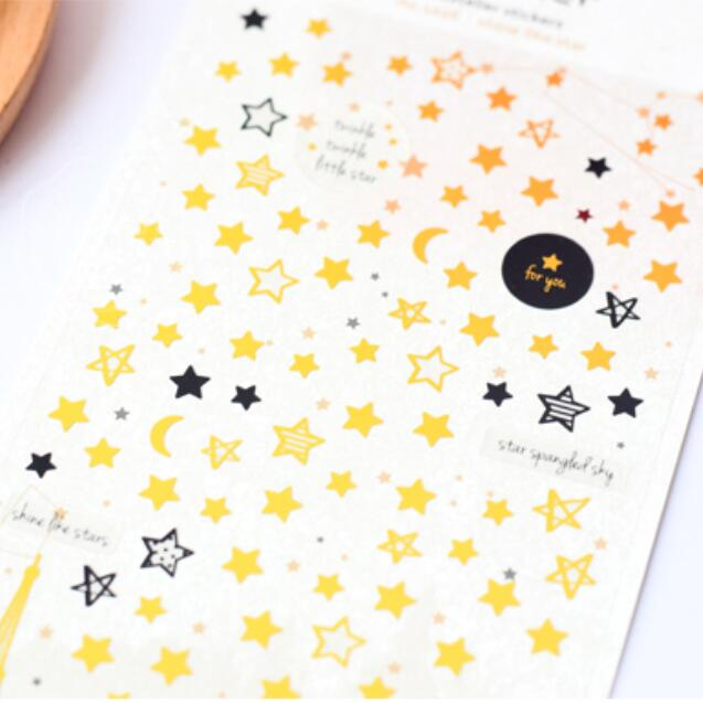 1pack/lot Fashion Suatelier Star Month Hot Stamping Stickers DIY Label Diary Stickers Stationery Office School Supplies