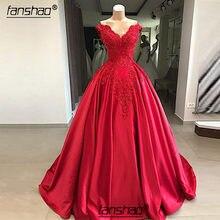 Fanshao kırmızı kabarık ucuz Quinceanera elbiseler aplikler boncuklu Robe De Soiree v yaka kapalı omuz özel durum törenlerinde
