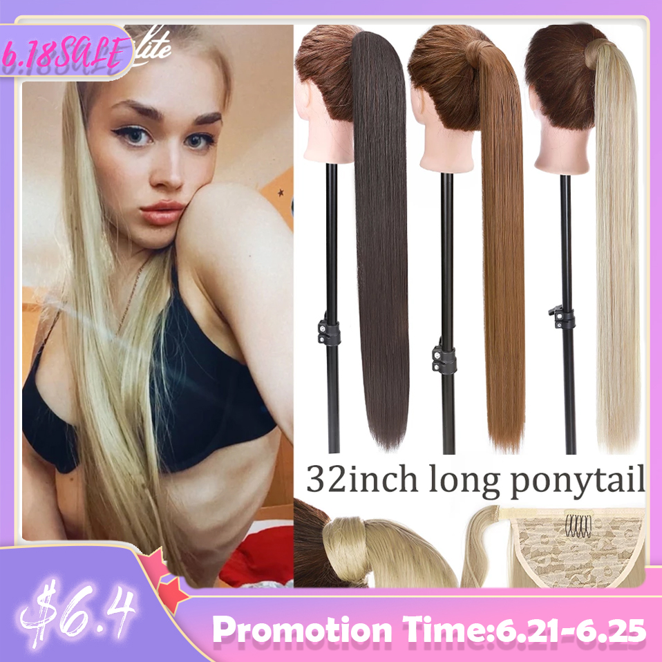 S-noilite Long Straight Clip In Ponytail Hair Extensions Synthetic Wrap Around Ponytail Hairpiece Clip In Hair Tail False Hair