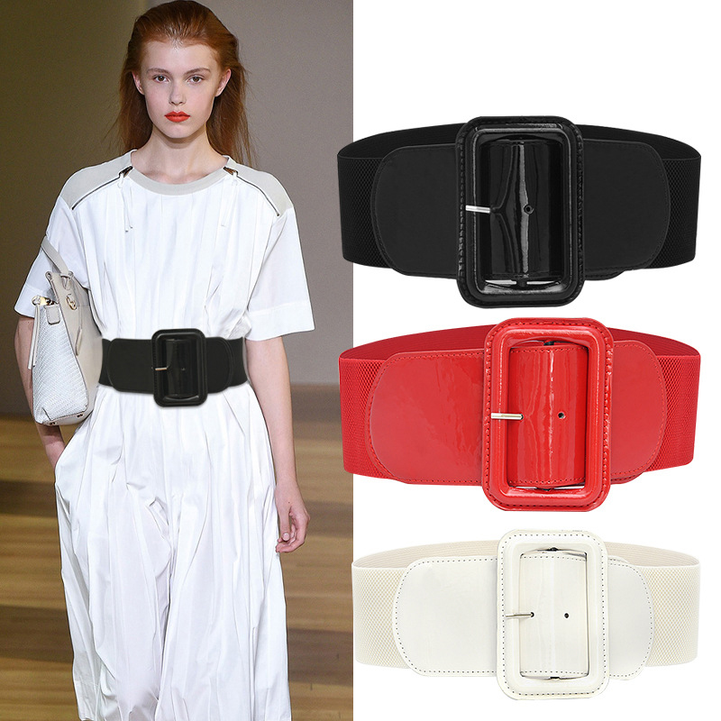 Big Belts For Women Waist Corset Belt Wide Elastic Cummerbunds Black Stretch Plus Size Belt Dress Fashion Ladies Cinturon Mujer