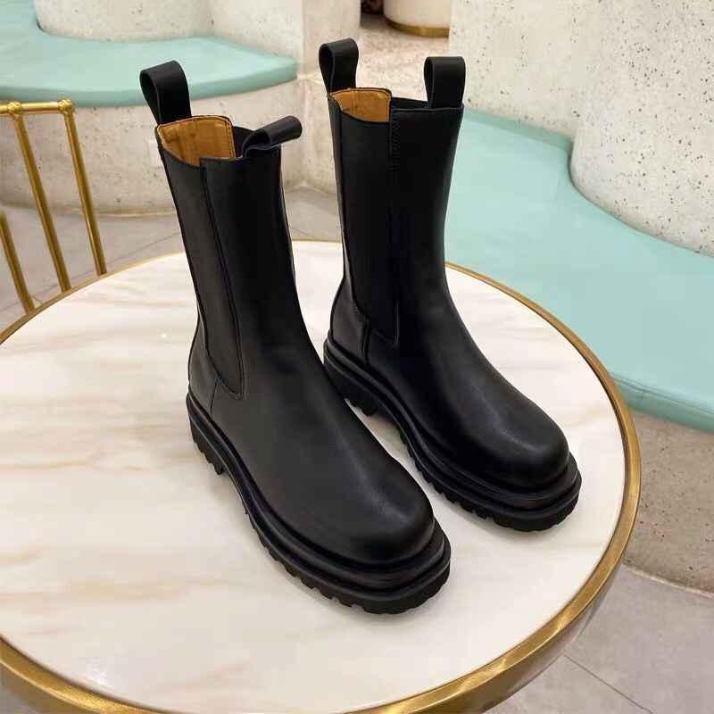 2020 yeni kadın Chelsea botları Slip-on kadın platformu yarım çizmeler düz Botas Mujer sonbahar kış kauçuk ayakkabı kadın