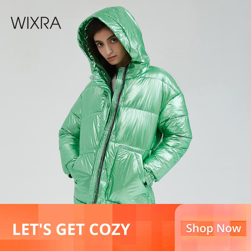 Wixra Women Thick Hooded Coat 2019 Winter New Warm Cool Bright Color Ladies Loose Casual   Parkas   Female Jacket