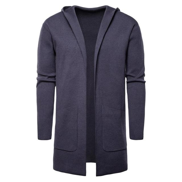 De los hombres de moda jerséis largos invierno Cardigan hombre sólido cálido otoño primavera marca Homme suéteres Casual Slim a prueba de viento nuevo