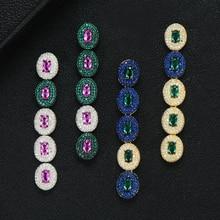 GODKI znane marki luksusowe Waterdrop wiszące kolczyki dla kobiet ślub pełne Micro CZ Cubic cyrkon dubaj indyjskie kolczyki Bohemia Hot