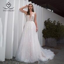 Romantik v yaka tül gelinlik SWANSKIRT F261 Boho boncuklu aplikler A Line 3D çiçekler Illusion gelin kıyafeti Vestido de noiva