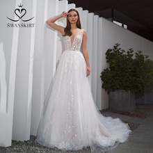 Romantische V hals Tulle Trouwjurk Swanskirt F261 Boho Kralen Applicaties A lijn 3D Bloemen Illusion Bruidsjurk Vestido De Noiva