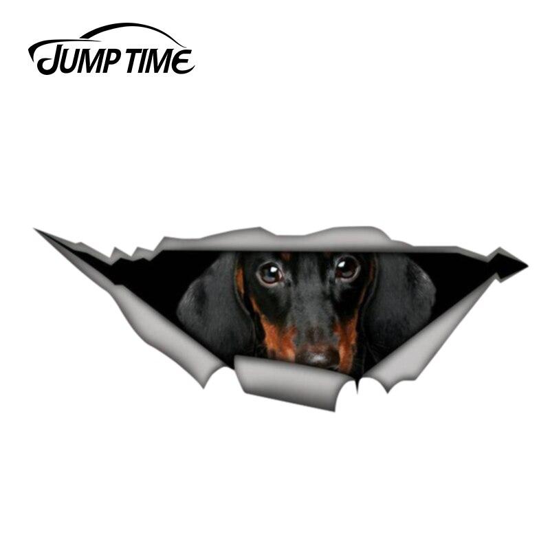 Jump Time 13cm X 4.8cm Dachshund 3D Car Sticker Torn Metal Decal Wild Animal Funny Car Stickers Window Bumper Styling