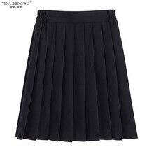 Elastik bel japon öğrenci kızlar okul üniforması SolidColor JK takım elbise pilili etek kısa/orta/uzun yüksek okul elbise dipleri