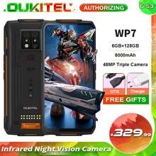 Oukitel wp7 6gb + 128gb 6.53 infrared infrared visão noturna infravermelha ip68 impermeável áspero smartphone 8000mah 48mp triplo câmeras do telefone móvel